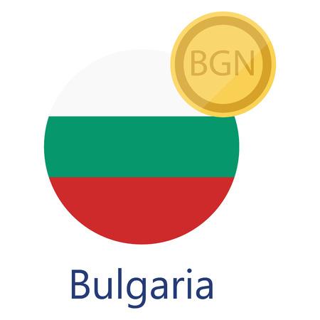 Vector illustration Bulgarian round flag and currency symbols BGN. Bulgarian Lev. Bulgaria