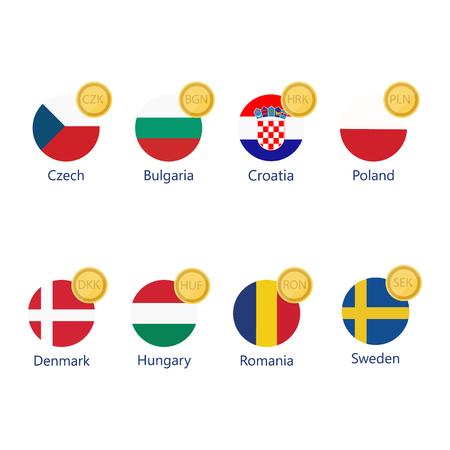Ilustración vectorial conjunto de iconos de símbolos de moneda mundial. Iconos de signo de dinero con banderas nacionales.