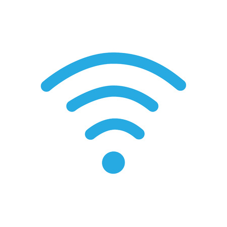 Vector illustration flat design blue wireless icon.