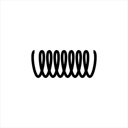 Vector illustration black silhouette of spring icon isolated on white background. Metal spiral flexible wire elastic