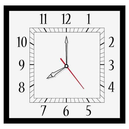 Vector illustration office square clock. Classic black and white  wall clock isolated on white. Clock on wall shows eight oclock