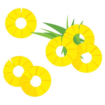Illustration vectorielle feuilles vertes et trois icônes rondes en tranches d'ananas isolées sur fond blanc. Ensemble de fruits tropicaux d'été, collection