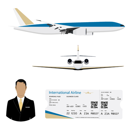 World travel and tourism concept. Airline boarding pass ticket with QR2 code design template and airplane flying in the sky. Businessman passanger flying charter flights.