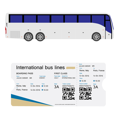 illustration raster illustration bus and boarding pass ticket template design isolated on white realistic transport ticket with bar code
