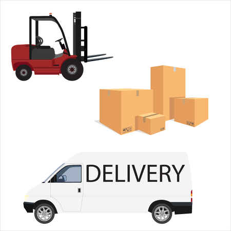 Raster illustration pile of cardboard boxes isolated on a white background. Loader car for carton box delivering and delivery car mini van. Delivery service icon