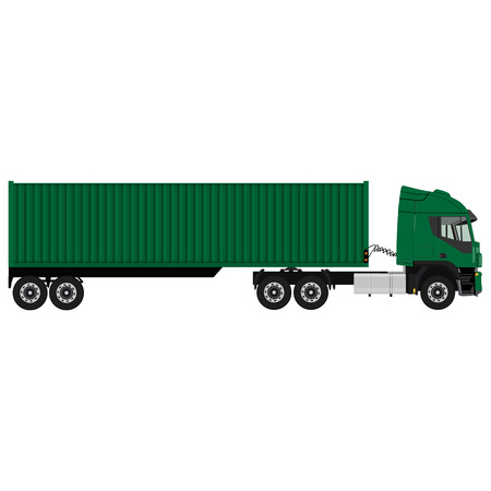 Raster illustration of green cargo truck. Truck with container. Delivery transport