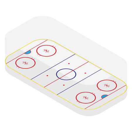 hockey goal: Raster illustration isometric perspective 3e ice hockey field raster isolated on white. Sport stadium icon. Winter sport