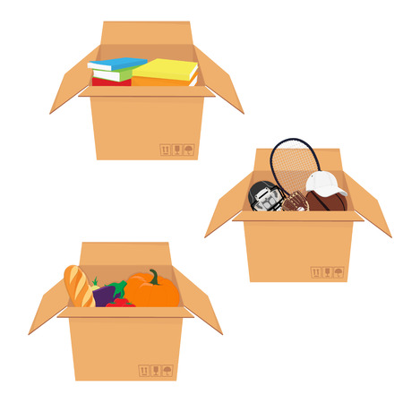 Raster illustration icon set, collection isometric perspective 3d cardboard box with food, sport equipment and books.