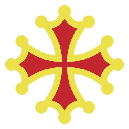 Raster illustration golden and red occitan cross sign, symbols  or icon. Stok Fotoğraf