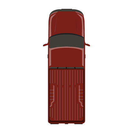 Raster illustration red pick up car, truck top view. Banco de Imagens