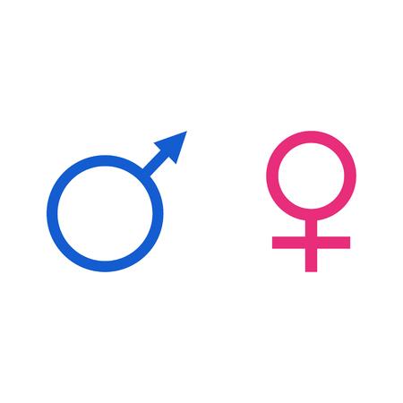 Raster illustration blue male and pink female symbol set. Gender sign woman and man.