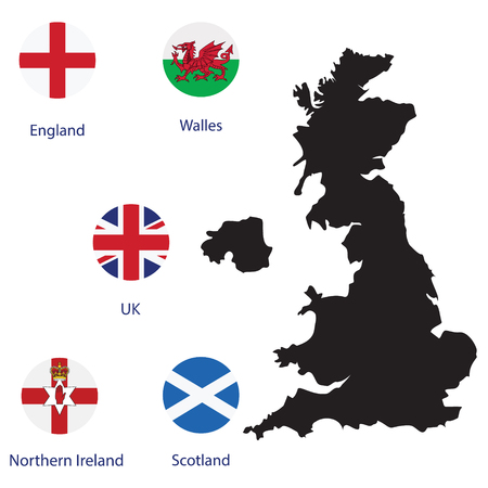 irish map: Raster illustration round flags of UK, England, Scotland, Wales and Northern Ireland. Black silhouette of uk map. England map. United Kingdom of Great Britain. Uk map counties Stock Photo