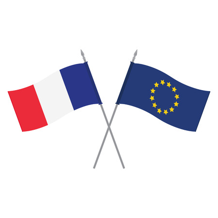 래스터 그림 EU 및 프랑스 플래그입니다. 유럽 연합과 프랑스의 플래그입니다. 동맹과 우정