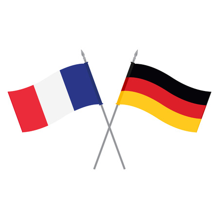 Raster illustration German and French flag. Flags of Germany and France. Alliance and friendship