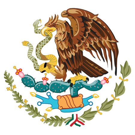 Vector illustration coat of arms of Mexico. United Mexican States