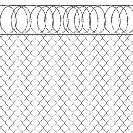barbed wire fence: Vector illustration metal fence with barbed wire background.