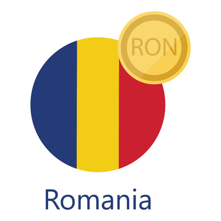 Vector illustration Romania round flag and currency symbol RON.