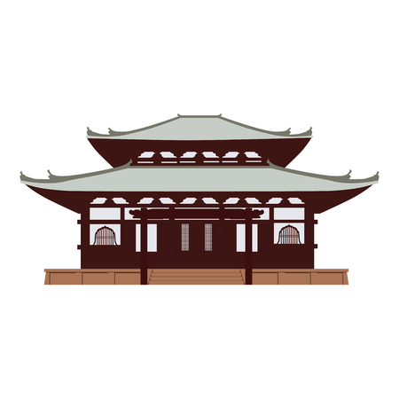 Vector illustration Japan, Tokyo temple, pagoda. Japanese symbol, landmark.