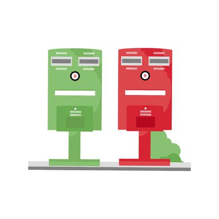 図赤と緑台湾郵便ポスト ホワイト バック グラウンドの分離  イラスト・ベクター素材