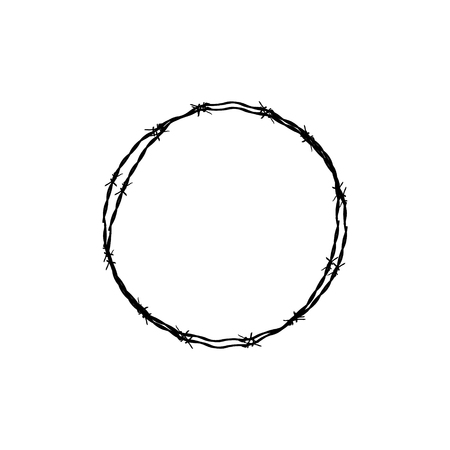 barbed wire fence: Vector illustration circular barbed wire