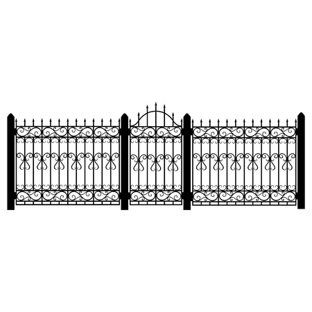 Raster illustration wrought iron modular railing and fence. Vintage gate with swirls. Black forged fence Illustration