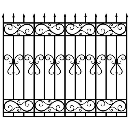 Ilustración de trama barandilla modular de hierro forjado y valla. Puerta de la vendimia con remolinos. Valla negra forjada Ilustración de vector