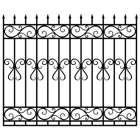Raster illustration wrought iron modular railing and fence. Vintage gate with swirls. Black forged fence Vetores