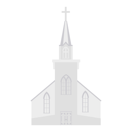 Raster illustration church building  icon isolated on white background. Wedding chapel. Christianity or catholic church
