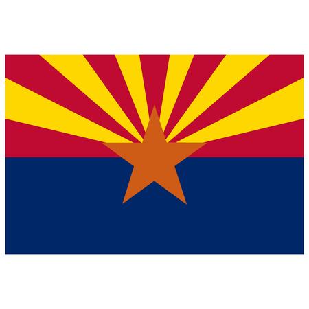 Rectangle Arizona state flag raster icon isolated on white background. USA Arizona state flag button