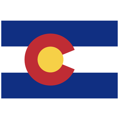 collins: Rectangle Colorado state flag raster icon isolated on white background. USA Colorado state flag button