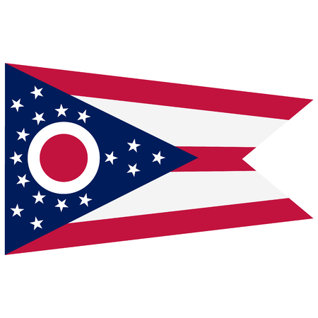 Ohio state flag raster icon isolated on white background. USA Ohio state flag button