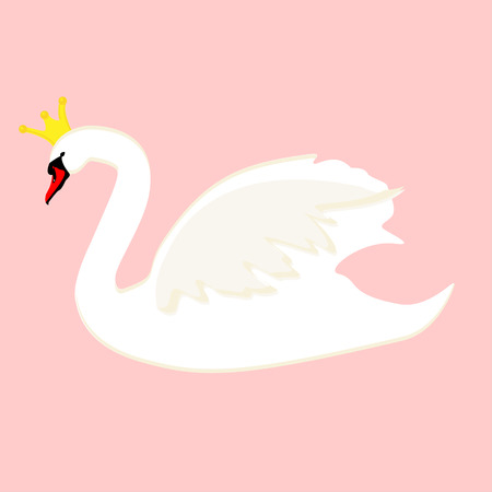 Vector illustration with beautiful swan.
