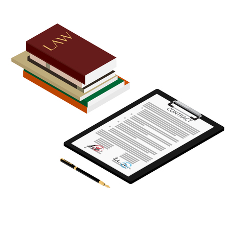 Vector illustration isometric perspective law books and contract with fountain pen. Illustration