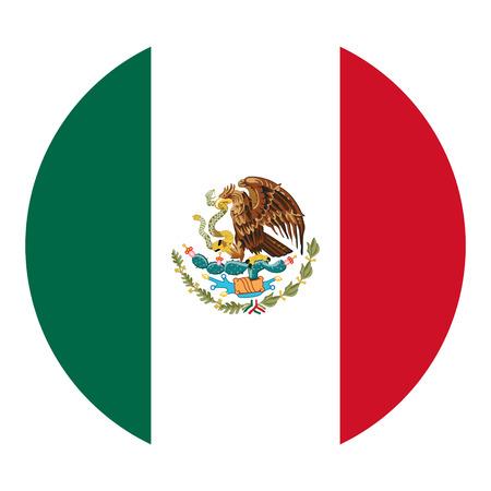 Round Mexico flag vector icon Illustration