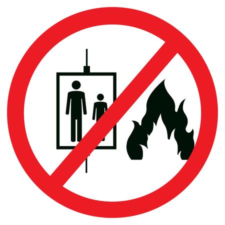 火事の場合エレベーター記号を使用しないでください。  イラスト・ベクター素材