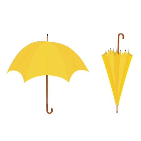 Collection of two yellow umbrellas opened and closed