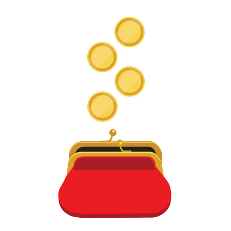 Vector illustration golden coins falling in red retro purse. Dollars dropping in open purse. Saving money concept