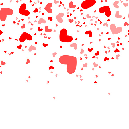 Raster illustration red, pink hearts confetti isolated on white background. Valentine time pattern, background, backdrop