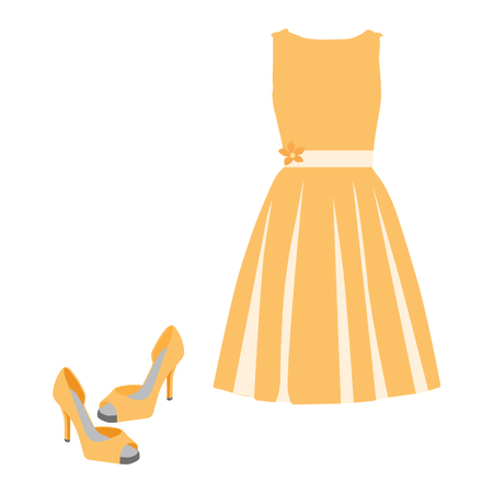 Beautiful orange summer dress and pair of shoes vector illustration. Woman dress. Cocktail dress