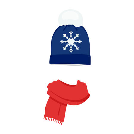 comfortable: Vector illustration winter hat cap with snowflake and pompom red scarf flat design Illustration