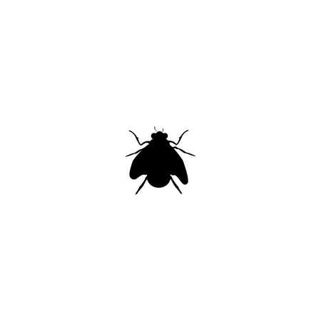 Vector illustration, black silhouette of house fly insect isolated on white background. Illustration