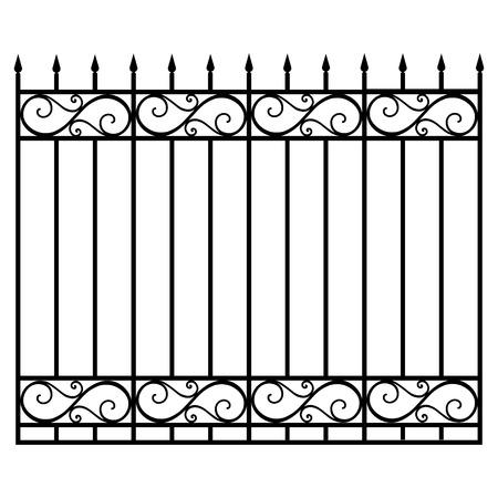 Vector illustratie, smeedijzer, modulaire reling en hek. Vintage poort met wervelingen. Zwart gesmeed roosteromheining Stock Illustratie