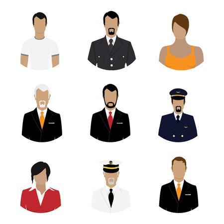 Ilustración vectorial conjunto de personas de profesiones. Iconos de estilo plano. Avatar de Ocupación. Hombre de negocios, capitán de mar, piloto, soldado, empresaria, general