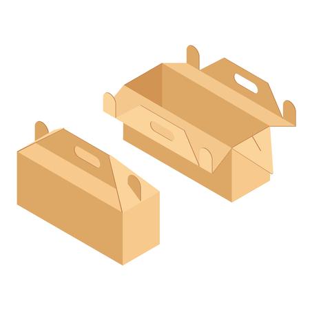 Vector illustration school lunchbox from cardboard. Lunchbox for school, student food. Illustration