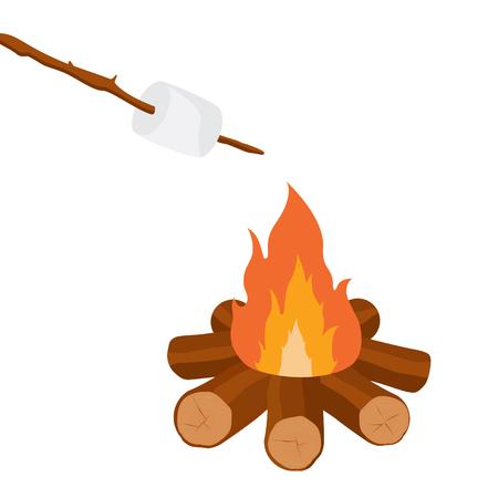 Vector illustration marshmallow on wooden stick roasting on campfire. Bonfire with marshmallow.