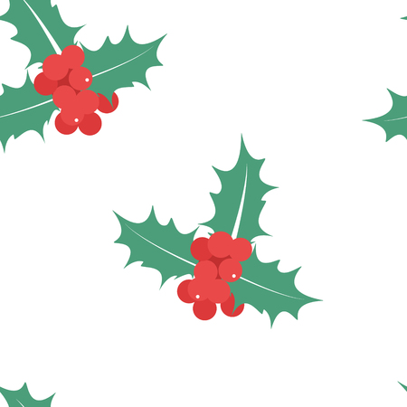 spiked: Vector illustration seamless pattern, background Holly berry leaves Christmas icon.