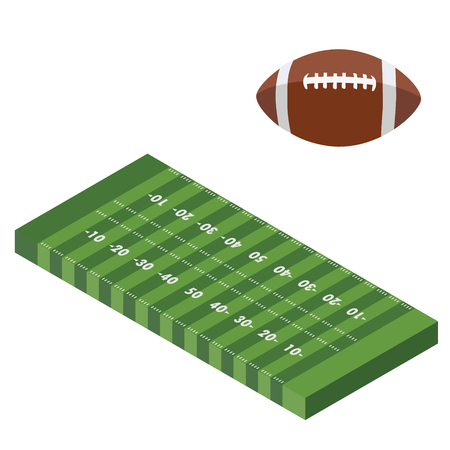 Raster illustration isometric perspective 3d American football ball and field stadium isolated isolated on white background. Team sport