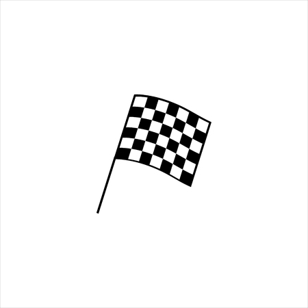 Raster illustration auto racing flag icon. Finish checkered flag sign, symbol.