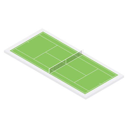 Raster illustration 3d isometric green tennis field isolated on white background. Tennis court icon. Field for the game of tennis with the markings and grid
