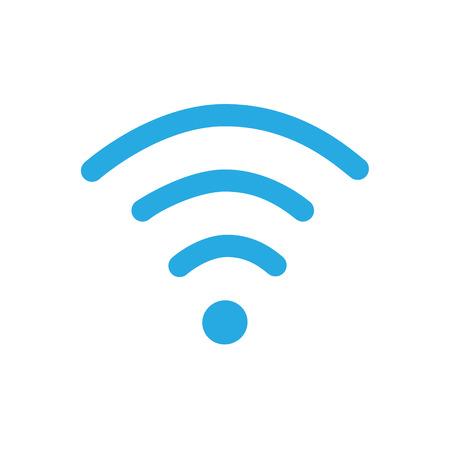 Raster illustration flat design blue wireless icon. WiFi symbol, sign. WiFi